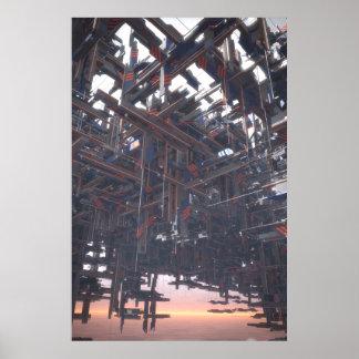 Estructura abstracta que flota en un cielo póster