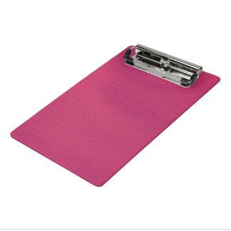 estructura de cuero, rosa fuerte minicarpeta de pinza