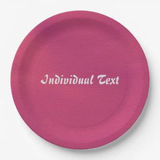 estructura de cuero, rosa fuerte plato de papel 22,86 cm