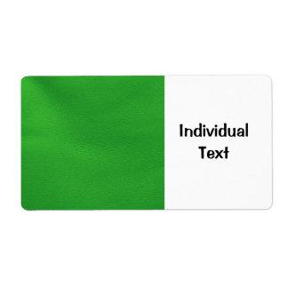 estructura de cuero, verde etiquetas de envío
