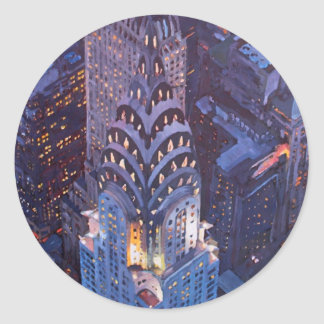Estructura de New York City Midtown Manhattan W. Pegatina Redonda