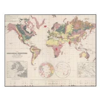 Estructura geológica del globo impresión en madera
