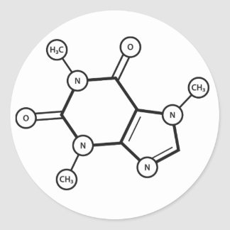 estructura molecular del cafeína pegatina redonda