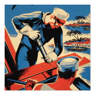 ¡Estructura para su marina de guerra! Invitaciones Magnéticas