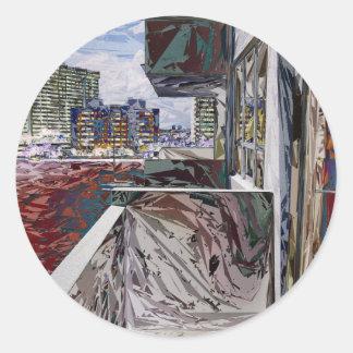 Estructura urbana abstracta pegatina redonda