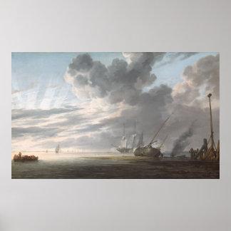 Estuary at Day's End by Simon de Vlieger Poster