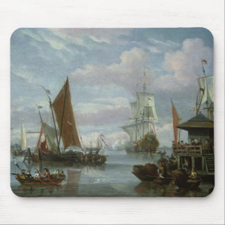 Estuary Scene with Boats and Fisherman Mouse Pad