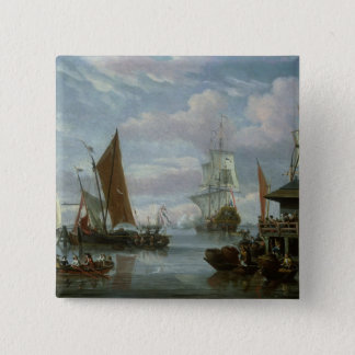 Estuary Scene with Boats and Fisherman Pinback Button