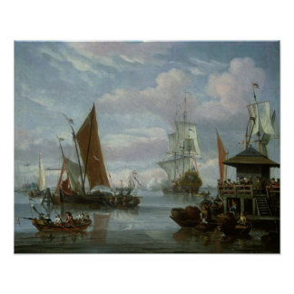 Estuary Scene with Boats and Fisherman Poster