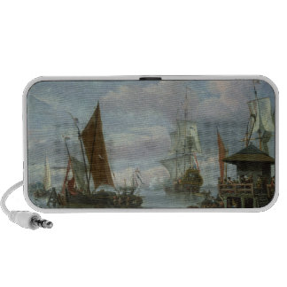 Estuary Scene with Boats and Fisherman Travel Speakers
