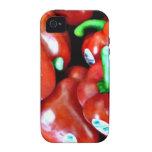 Estuche rígido del iPhone de las pimientas rojas iPhone 4 Fundas