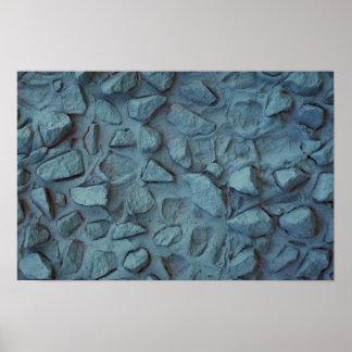 Estuco pintado azul ilustrativo de la roca impresiones