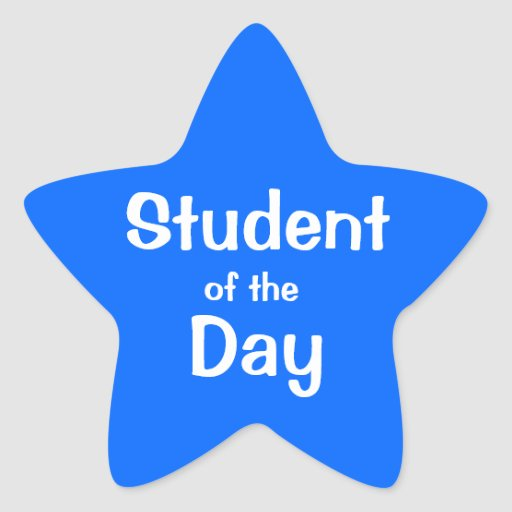 Estudiante adaptable de la estrella azul del día pegatina en forma de estrella