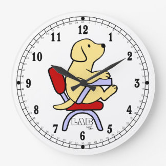 Estudiante amarillo 1 de Labrador Reloj Redondo Grande