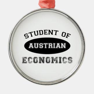 Estudiante de la economía austríaca adorno navideño redondo de metal