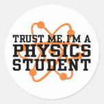 Estudiante de la física pegatina redonda