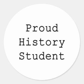 Estudiante de la historia orgullosa pegatina redonda