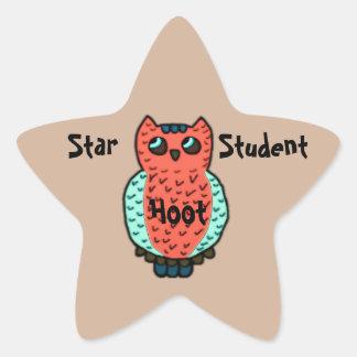Estudiante de neón de la estrella del búho pegatina en forma de estrella
