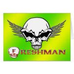 Estudiante de primer año - alas del cráneo tarjeta de felicitación