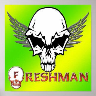 Estudiante de primer año - el cráneo se va volando póster