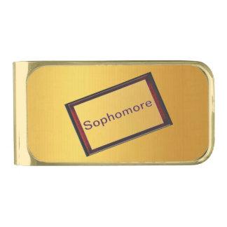 Estudiante de segundo año clip para billetes dorado