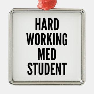 Estudiante de trabajo duro del MED Adorno Navideño Cuadrado De Metal