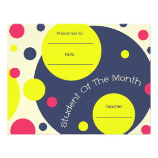 Estudiante del certificado del premio del mes membrete personalizado