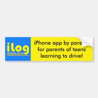 estudiante del iLog que conduce el iPhone app Pegatina Para Coche