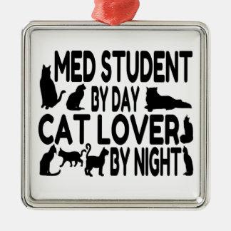 Estudiante del MED del amante del gato Adorno Navideño Cuadrado De Metal
