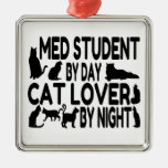 Estudiante del MED del amante del gato Adorno Cuadrado Plateado