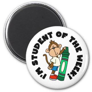 Estudiante del mono de la semana imán redondo 5 cm
