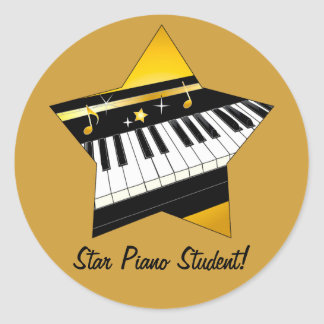 Estudiante del piano de la estrella pegatina redonda