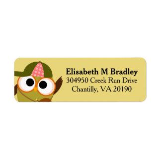 Estudiante lindo personalizado del búho de la etiqueta de remite