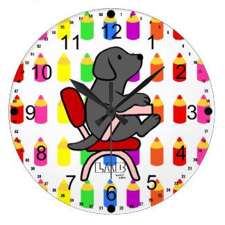 Estudiante negro 1 de Labrador Reloj Redondo Grande