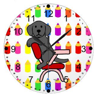 Estudiante negro 3 de Labrador Reloj Redondo Grande