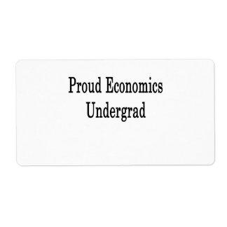 Estudiante orgulloso de la economía etiquetas de envío