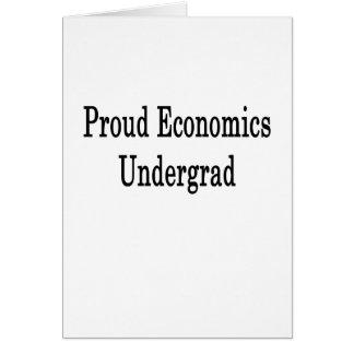 Estudiante orgulloso de la economía tarjeta de felicitación