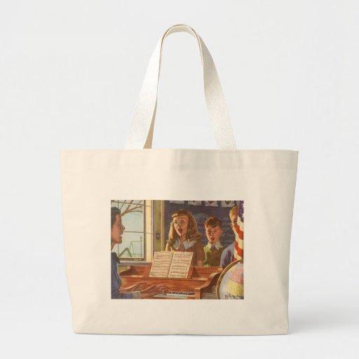 Estudiantes de enseñanza del profesor de música de bolsa