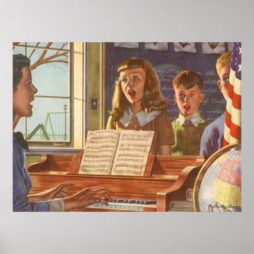Estudiantes de enseñanza del profesor de música de posters