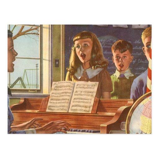 Estudiantes de enseñanza del profesor de música de postales