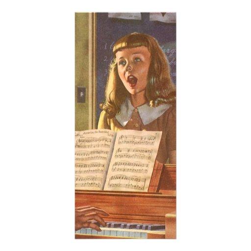 Estudiantes de enseñanza del profesor de música de tarjeta publicitaria a todo color
