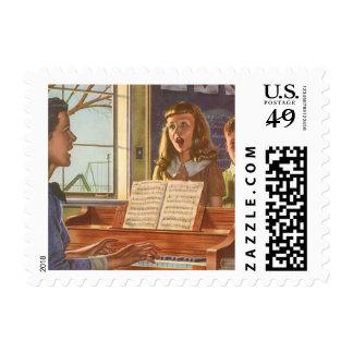 Estudiantes de enseñanza del profesor de música sellos