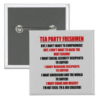 estudiantes de primer año de la fiesta del té pin cuadrado