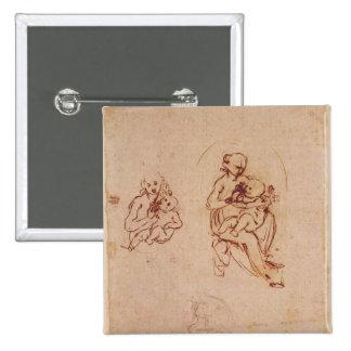 Estudie para la Virgen y el niño, c.1478-1480 Pin Cuadrado