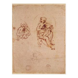 Estudie para la Virgen y el niño, c.1478-1480 Postales
