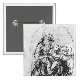 Estudie para Madonna con un gato, c.1478-80 Pin Cuadrado