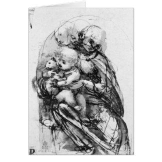 Estudie para Madonna con un gato, c.1478-80 Tarjeta De Felicitación