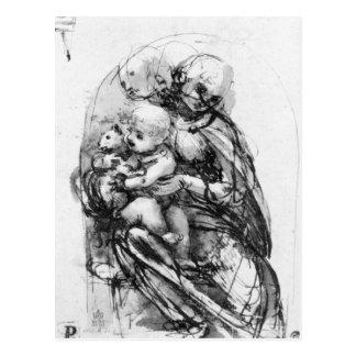 Estudie para Madonna con un gato, c.1478-80 Tarjetas Postales