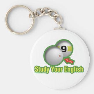 Estudie su inglés llavero redondo tipo pin