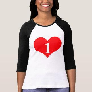 Estudio 1 una camiseta del raglán del amor playeras